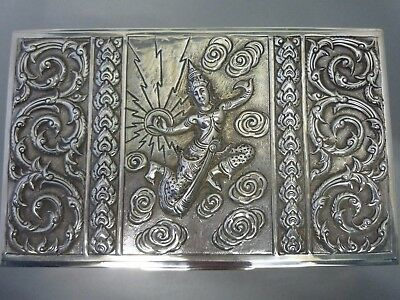Vintage/antique Siam Hand Chased Repousse Sterling Silver Engraved Jewellery Box