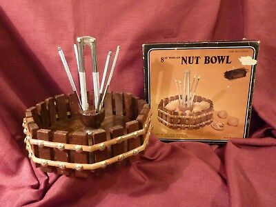 "Vintage 8"" Wooden Octagon Fence Style Nut Bowl w 4 Nut Picks & 1 Nut Cracker NOS"
