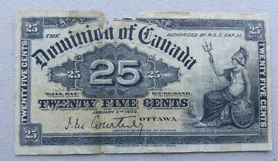 1900 Dominion of Canada 25 cent Bank Note Shinplaster Fractional Courtney 7