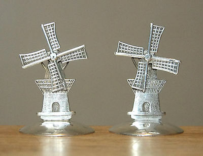 """2 Antique Dutch 833 Sterling Silver 1.5"""" Miniature WINDMILLS w/Movable Blades"""