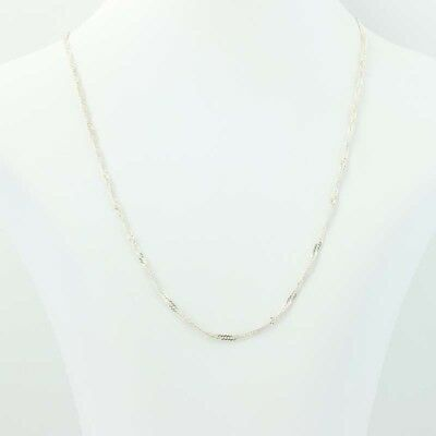 Twisted Herringbone Necklace - Sterling Silver 925 Fancy 17 3/4 Chain