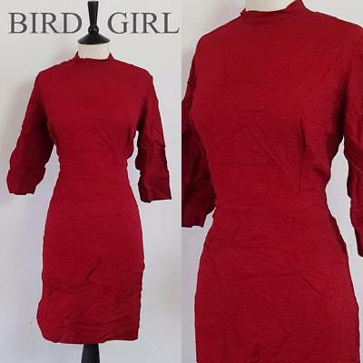 Bombshell 1950S Vintage Wine Red Wiggle Hourglass Cocktail Dress 16 L