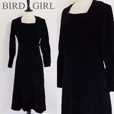 Original 1940S Vintage Black Cotton Velvet Wartime Landgirl Cocktail Dress 10-12