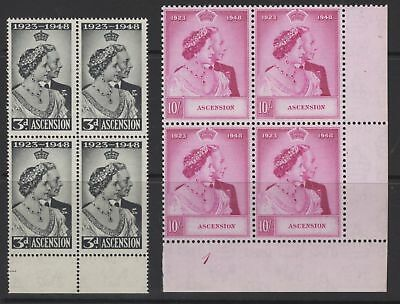 Ascension Sg50/1 1948 Silver Wedding Mnh Blocks Of 4 (10/- Has Plate Number)