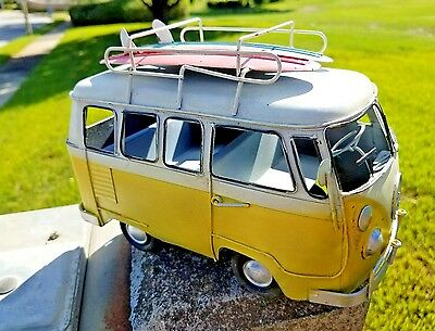 Vintage Beach Look Handdesigned Metal Yellow Vw Surf Bus With Surfboards On Top!