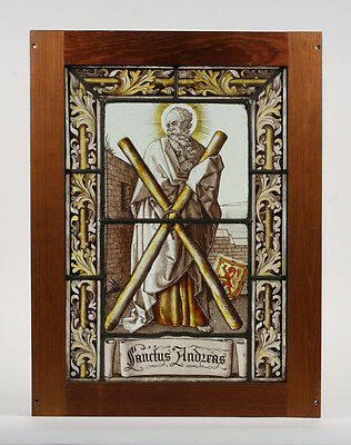 Early Painted Stained Glass Panel of Saint Andrew / Christian 16th Century