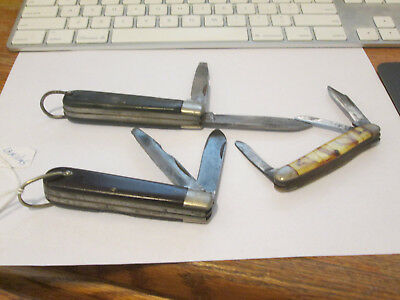 USA KNIFE lot of 3 CAMILLUS  GOOD USED POCKET KNIVES 2 ELECTRICIANS & 1 STOCKMAN
