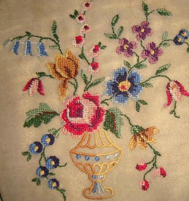BEAUTIFUL LITTLE 19th CENTURY SILK EMBROIDERY, VASE OF FLOWERS