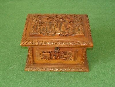 ANTIQUE CHINESE SANDALWOOD BOX  HAND CARVED PANELS SCHOLARS IN GARDEN circa 1880