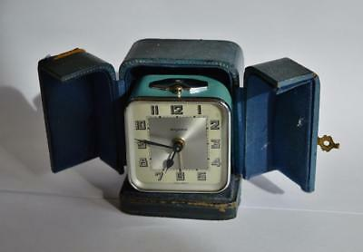 SUPERB STYLISH 1930s FRENCH Bayard ART DECO CHROME ENAMEL TRAVELLING ALARM CLOCK