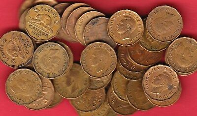 1942 Canadian Tombac 5 Cents ~ Dealer Lot Full Roll 40 Coins ~ F/VF Condition!