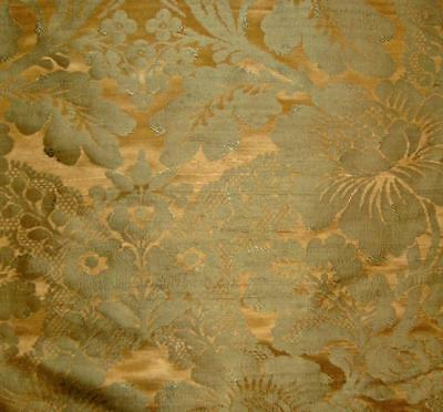 1m BEAUTIFUL 19th CENTURY FRENCH PURE SILK DAMASK, ANTIQUE GOLD & GREEN
