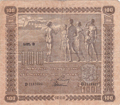 100 Markkaa Vf Banknote From Finland 1939!pick-73!scarce!