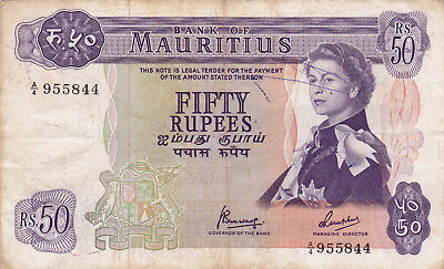 50 Rupees Vg Crisp Banknote From British Colony Of Mauritius 1967!pick-33