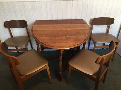 Vintage Danish Style set of 4 butterfly dining chairs possibly Gplan / Retro