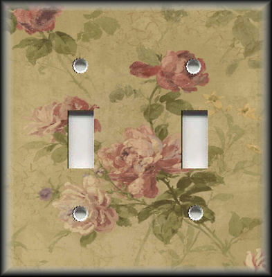 Metal Light Switch Plate Cover - Vintage Rose Crackle Shabby Chic Flower Decor