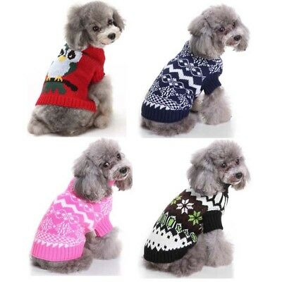 UK Pet Dog Cat Puppy Costumes Christmas Knitted Sweater Jumper Clothes Outfits