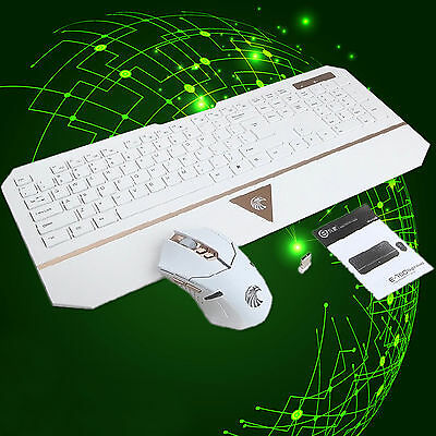Wireless Gaming Keyboard and Mouse Bundles PC Ergonomic E-780 2.4GHz Ultra-slim