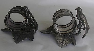 Pair of Victorian Silver Plate Figural Napkin Rings with Swallows (birds)