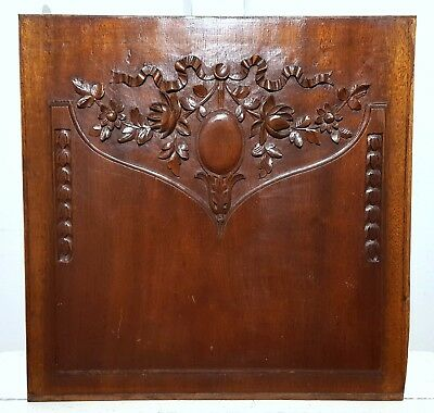 Hand Carved Wood Panel Antique French Flower Louis Xvi Architectural Salvage