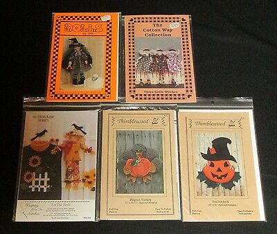 Lot of 5 Patterns for Halloween Fall Autumn Decorations Pumpkin Witch Scarecrow