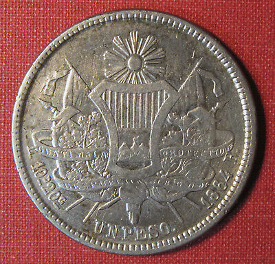1864R Guatemala Peso - Sharp Detail, Luster, Large .903 Fine Silver Coin!