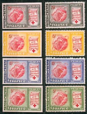 Guinea 1963 imperforated set red cross Rotes Kreuz co49