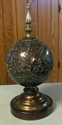 Decorative Large Crackle Glass Globe Orb w/ Brass Finial & Stand Black w/ Gold