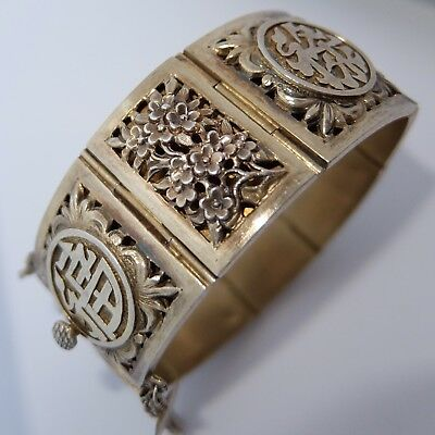 Vintage Chinese Gold Washed Sterling Silver Repousse Four Seasons Bracelet