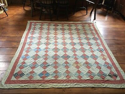 BEST Old Antique ALL Homespun Quilt Hand Sewn Textile AAFA Blue Red Green