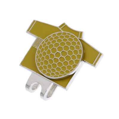 Funny Golf T Shirt Pattern Magnetic Hat Clip with Golf Ball Marker Yellow
