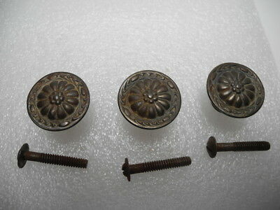 Set of 3 Pressed Tin 1930's  Large Rosette Cabinet Drawer Knob Pull Knobs