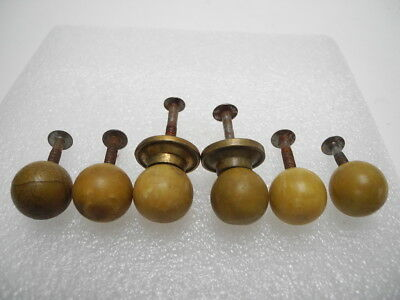 "Set of 6 Antique 3/4"" Amber Catalin Bakelite Cabinet Drawer Knob Pull Knobs"