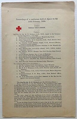 India 1920 Red Cross Conference proceedings 7pgs
