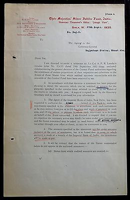 India 1935 Silver Jubilee Fund used signed letterhead