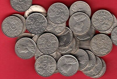 1922 Canadian 5 Cents ~ Dealer Lot Full Roll 40 Coins ~ VG/F+ Condition!