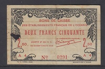 French Oceania : 1943 Emergency WWII 2.5 Francs- Very Fine