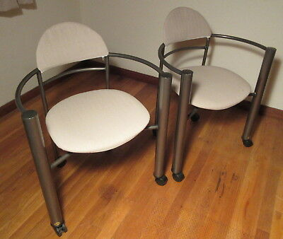 Pair Modern Amisco Canada Arm Chairs w/Curved Arms & Tubular Steel Legs