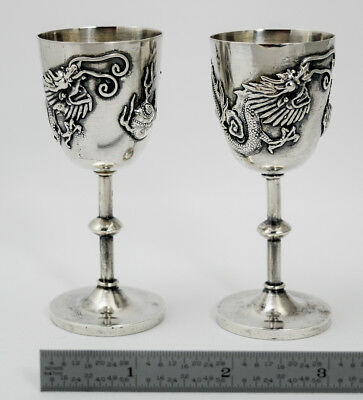GREAT PAIR 19thC CHINESE EXPORT STERLING SILVER CORDIALS APPLIED DRAGONS