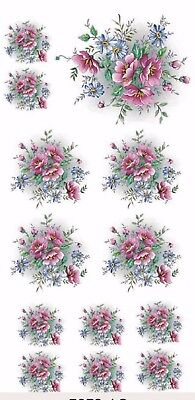 "7078-AC New Design Pink Gladis Flowers 3-1/2"" X 7-1/4"" Sheet Ceramic Decals Dx"