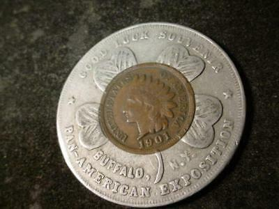 1901 Encased Indian Head Cent Pan-American Exposition Good Luck