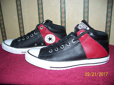 Converse All Star Chuck Taylor Black & Red Leather Shoes Size Women's 9 Men's 7