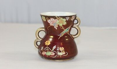 Carlton Ware Red Lustre Kingfisher And Waterlily Vase