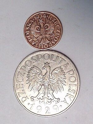 1929 Zloty & 1934 Grosz Poland - 2 Coins! Bold! Take A Look!!