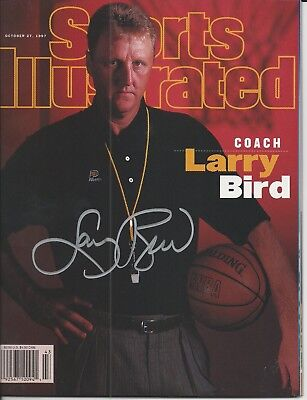 LARRY BIRD (Celtics) Signed SPORTS ILLUSTRATED with Schwartz COA (NO LABEL)