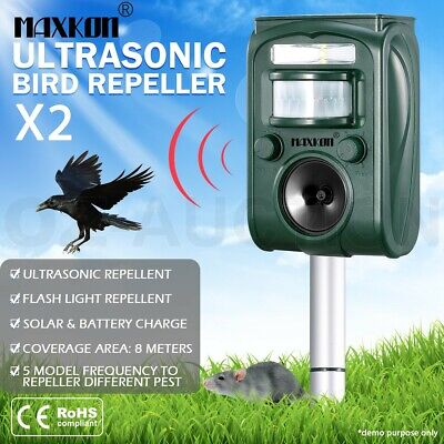 2x Ultrasonic Bird Animal Repellent Solar Powered Pest Repeller W/ LED Indicator