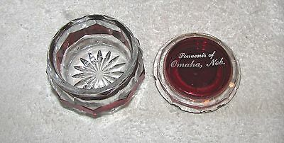 Omaha, Ne.--Souvenir Of Omaha, Neb.--Ruby Flash Dresser Jar