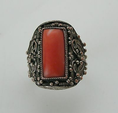 Awesome Antique Chinese Export Silver & Coral Ring Butterfly Motif Adjustable