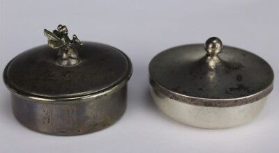 Lot Of 2 Vintage Empire Allan Adler Solid Sterling Silver Trinket Pill Box LSW