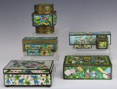 Estate Lot Of 9 Chinese Export Floral Painted Enamel Brass Trinket Pill Box LSW